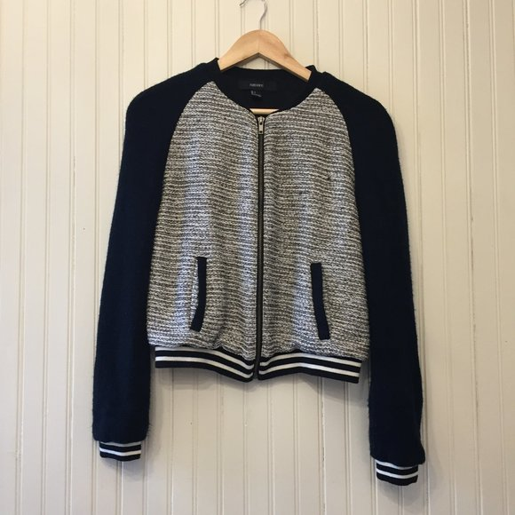 Forever 21 sparkle knit bomber Black and white L